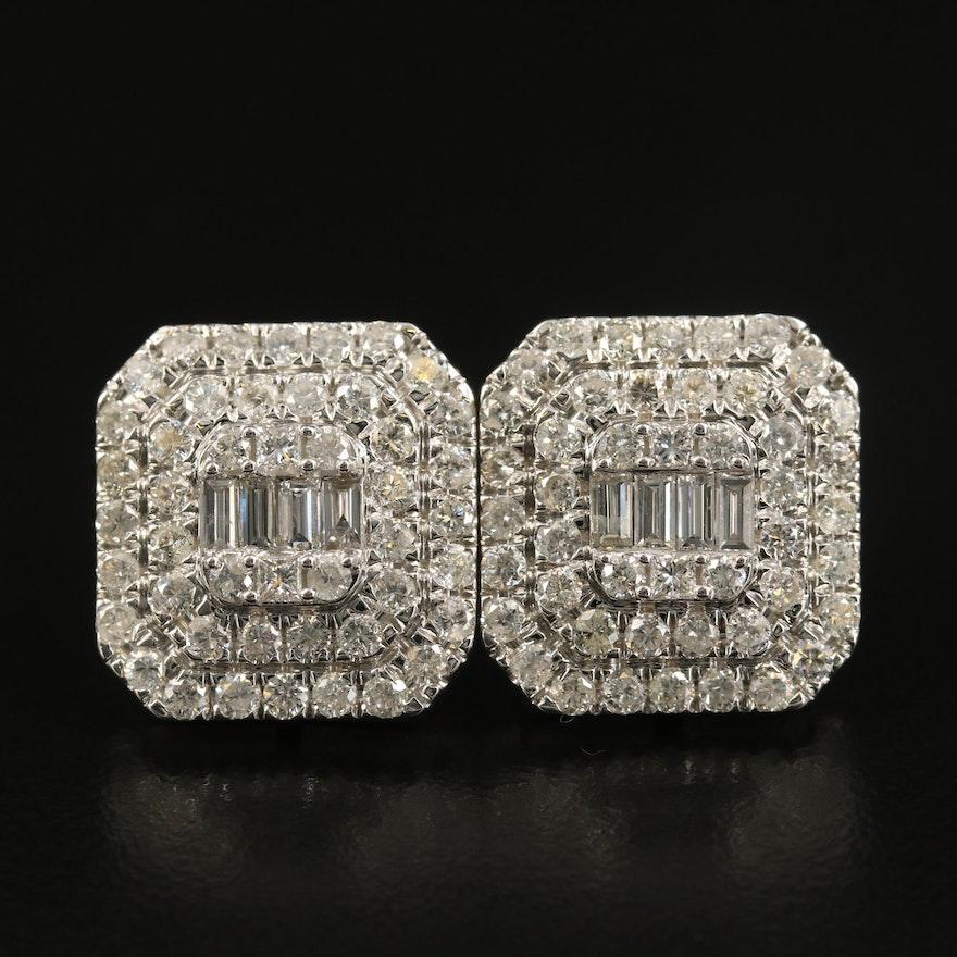 14K 2.87 CTW Diamond Double Halo Button Earrings