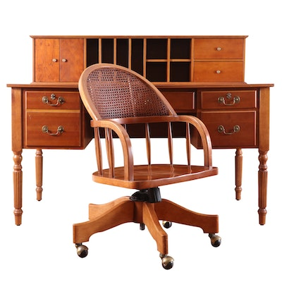 Sheraton Style Contemporary Writing Desk with Cane-Back Rolling Chair
