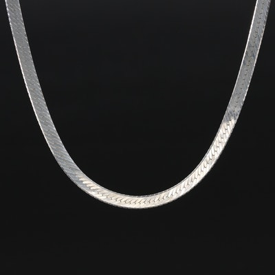 Italian Sterling Silver Herringbone Chain Necklace
