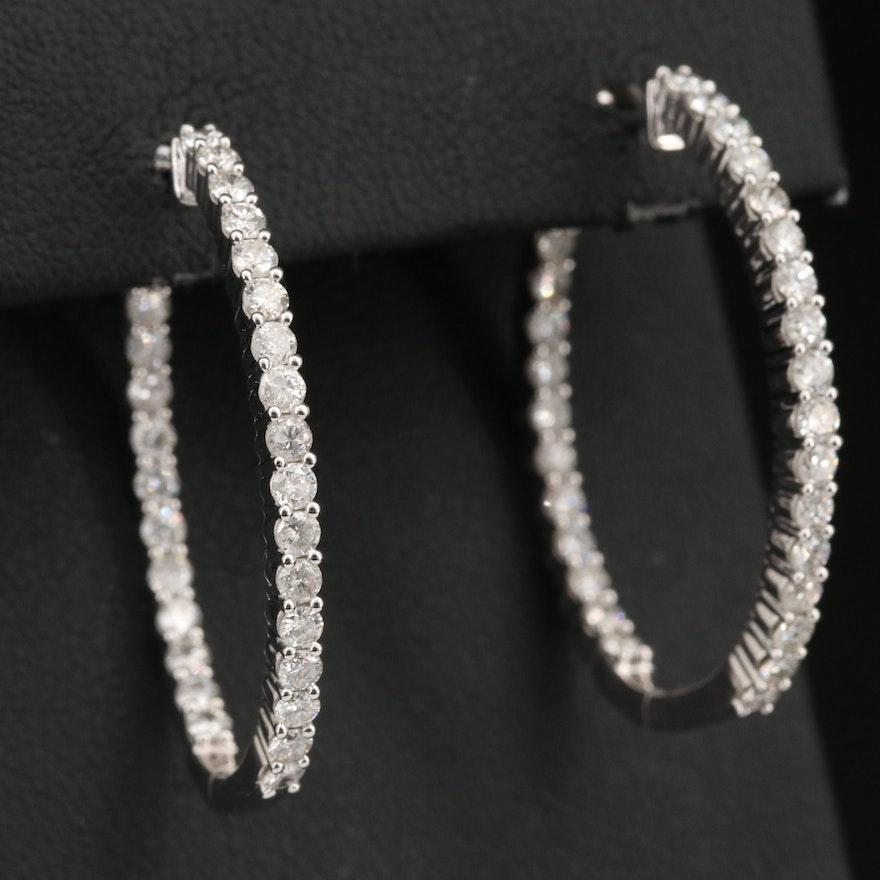 14K 2.71 CTW Diamond Inside-Out Oval Hoop Earrings
