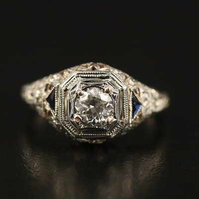 Early Art Deco Untermeyer-Robbins Co. 14K Diamond and Sapphire Ring