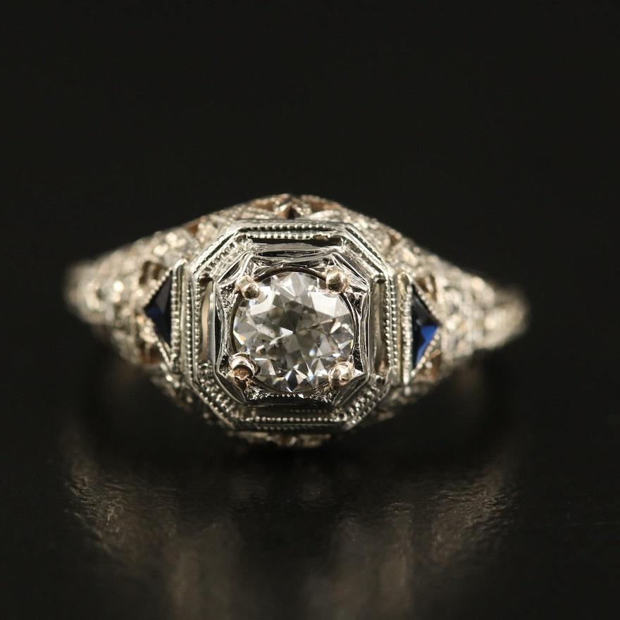 Early Art Deco Untermeyer-Robbins Co. 14K Diamond and Sapphire Ring