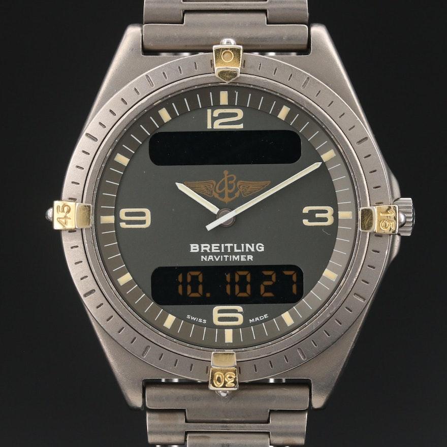 "Vintage Breitling ""Aerospace"" Titanium Wristwatch with Two-Tone Dial"