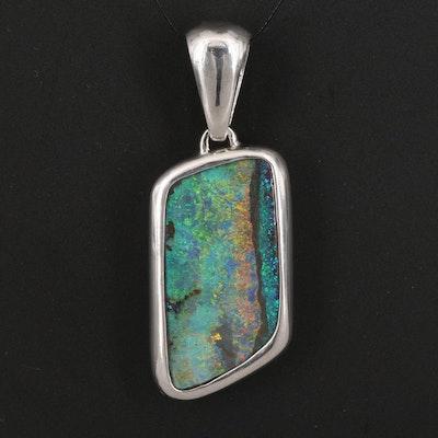 Platinum Freeform Boulder Opal Pendant