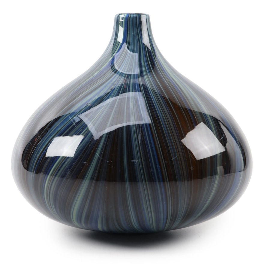 Cased Striped Art Glass Bulb Shaped Vase, Contemporary