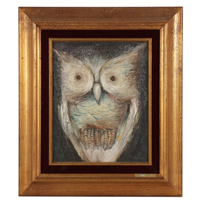 "Ozz França Oil Painting ""Owl,"" Mid to Late 20th Century"