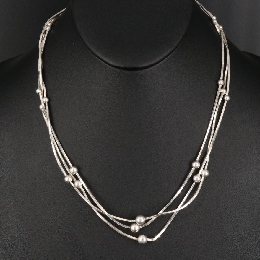 Italian Sterling Silver Triple Strand Beaded Station Necklace