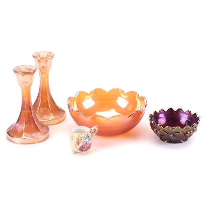 """Northwood """"Acorn Burrs"""" Bowl with Other Carnival Glass and German Demitasse Cup"""