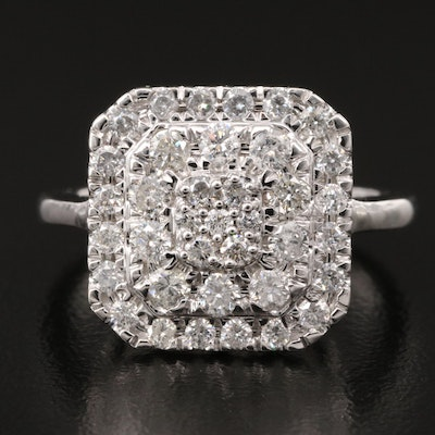 14K 1.01 CTW Diamond Cluster Ring