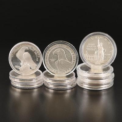 Ten U.S. Commemorative Silver Dollars, 1983, 1984, and 1986