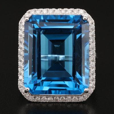 14K 34.94 CT Swiss Blue Topaz and Diamond Halo Ring