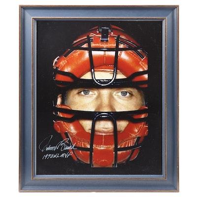 """Johnny Bench Signed """"1970 NL MVP"""" Framed Photo Print, COA"""