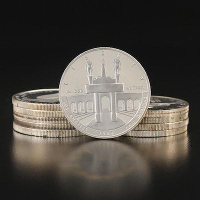 Ten U.S. Commemorative Silver Dollars, 1980s