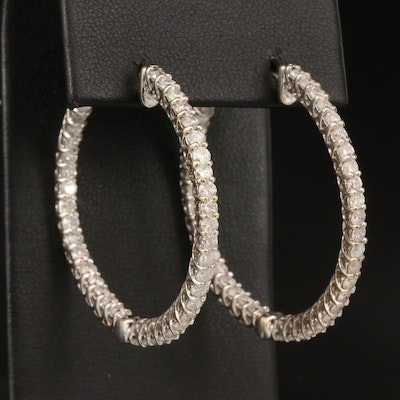 14K 3.66 CTW Diamond Inside-Out Hoop Earrings