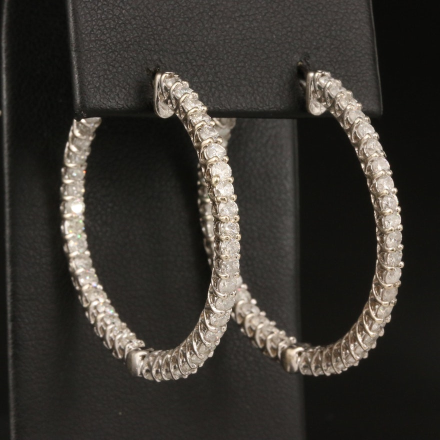 14K 3.66 CTW Diamond Inside-Out Hoop Earrings