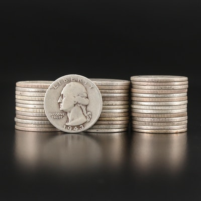 Forty Washington Silver Quarters