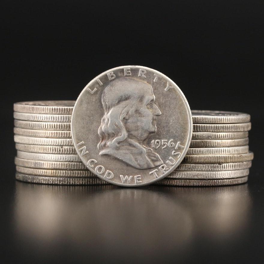 Twenty Franklin Silver Half Dollars