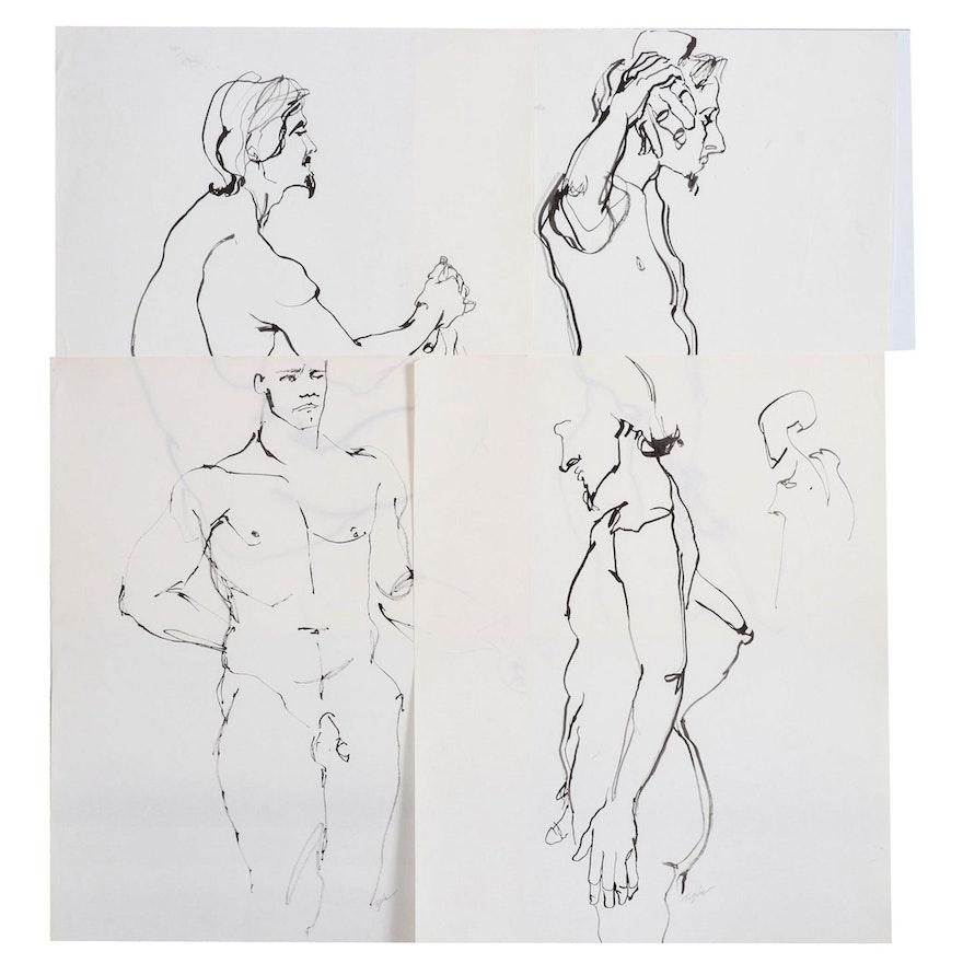 John Tuska Figural Study Ink Drawings on Paper