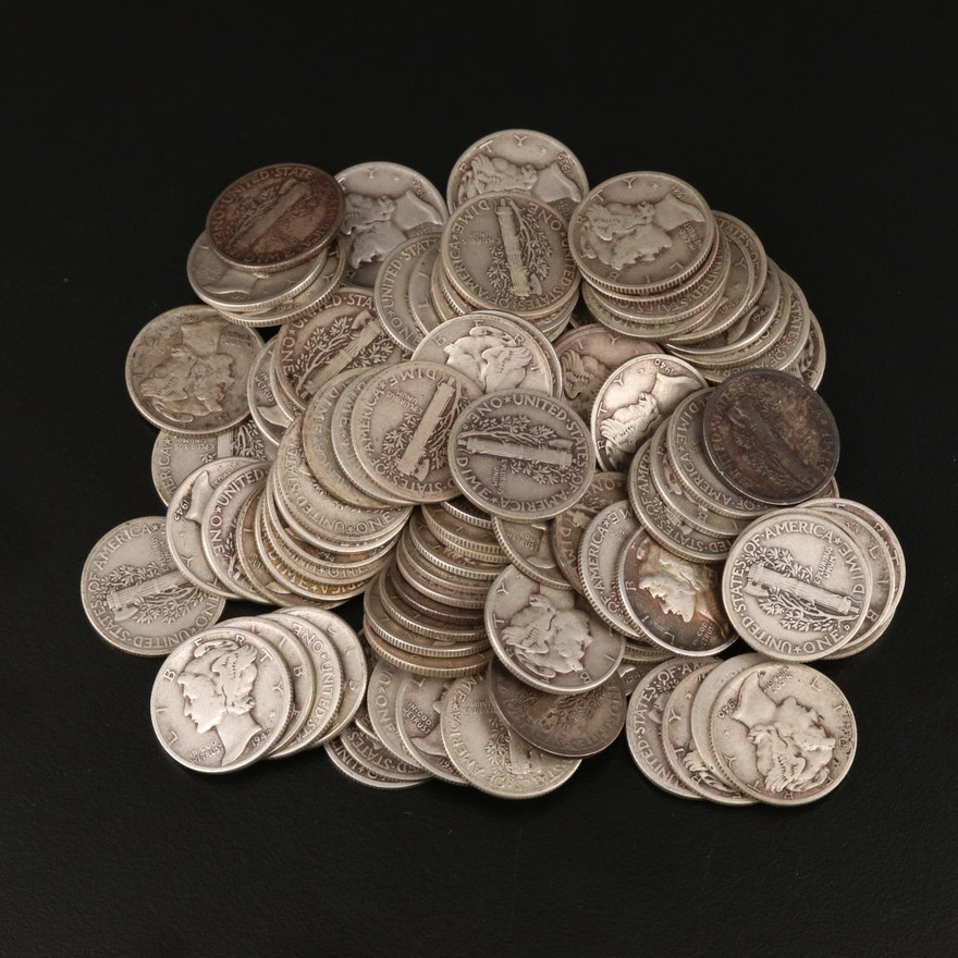 100 Mercury Silver Dimes