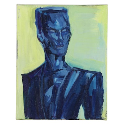 "Patrick McCafferty Acrylic Painting ""Grace Jones Portrait,"" 2020"