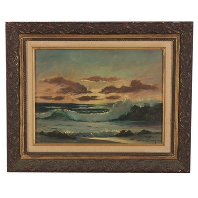 Ozz França Seascape Oil Painting, Mid to Late 20th Century