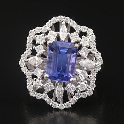 14K Tanzanite and 1.33 CTW Diamond Ring with Scalloped Edge