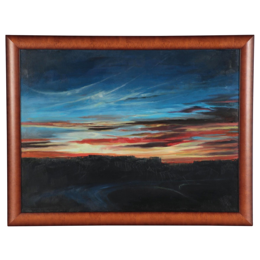 """Rebecca Manns Landscape Oil Painting """"Sunset Over Crow River Canyon,"""" 2019"""