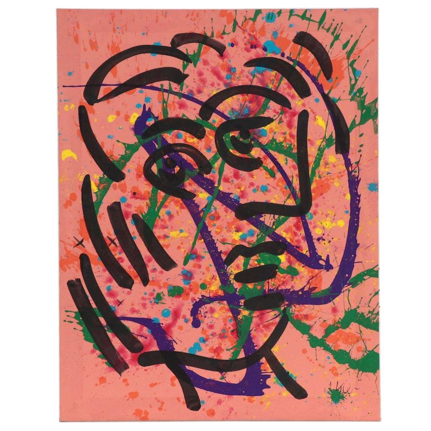 Peter Kiel Abstract Acrylic Portrait Painting, Late 20th Century