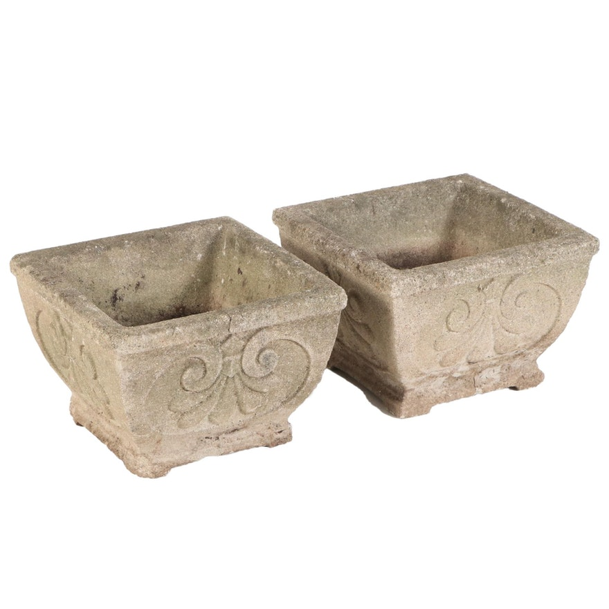 Pair of Victorian Style Cast Concrete Square Planters
