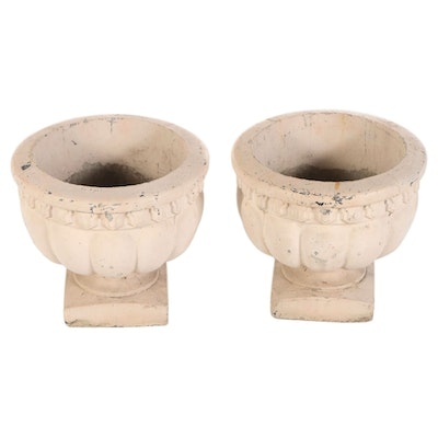 Neoclassical Style Cream Painted Cast Concrete Footed Urn Planters