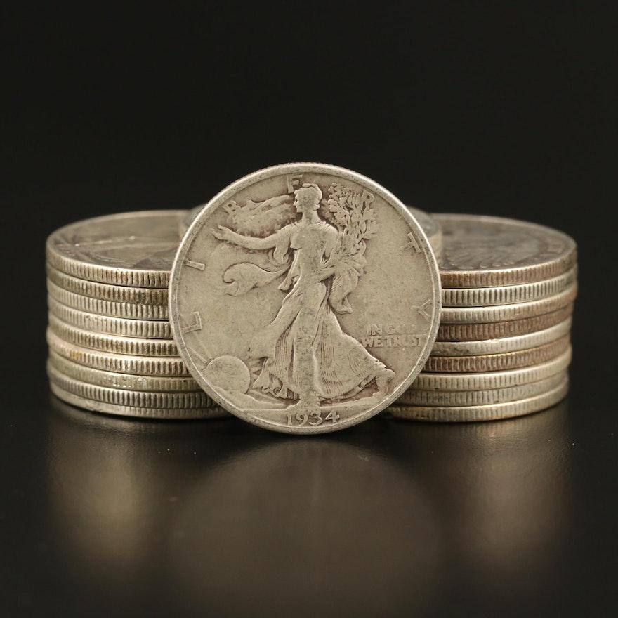 Twenty Walking Liberty Silver Half Dollars