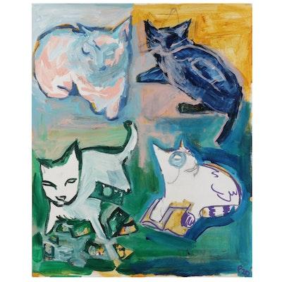"Patrick McCafferty Oil Painting ""Kats That Chill,"" 2020"
