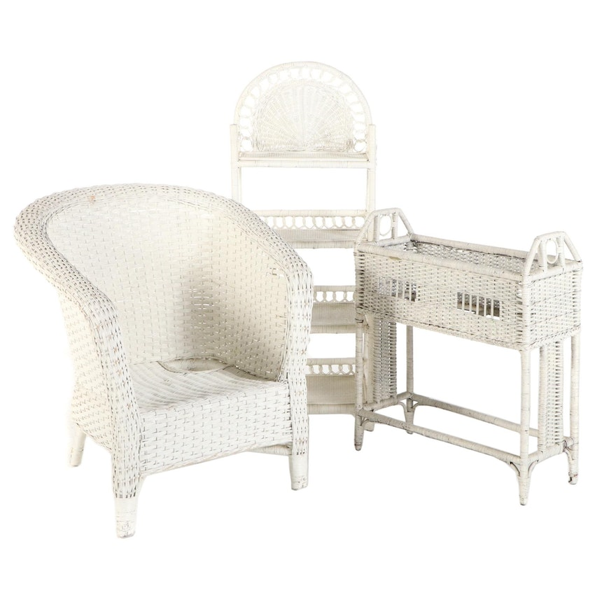 White-Painted Wicker Armchair, Étagère, and Planter, 20th Century