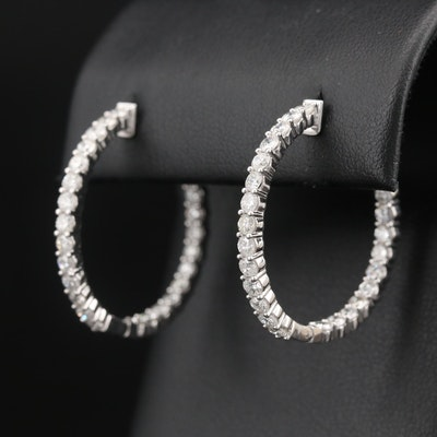 14K 2.88 CTW Diamond Inside-Out Hoop Earrings