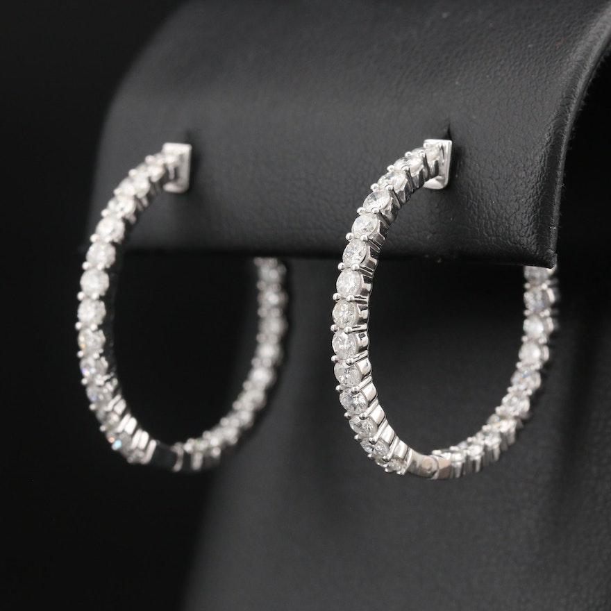 14K 2.88 CTW Diamond Inside-Out Hoop Earrings