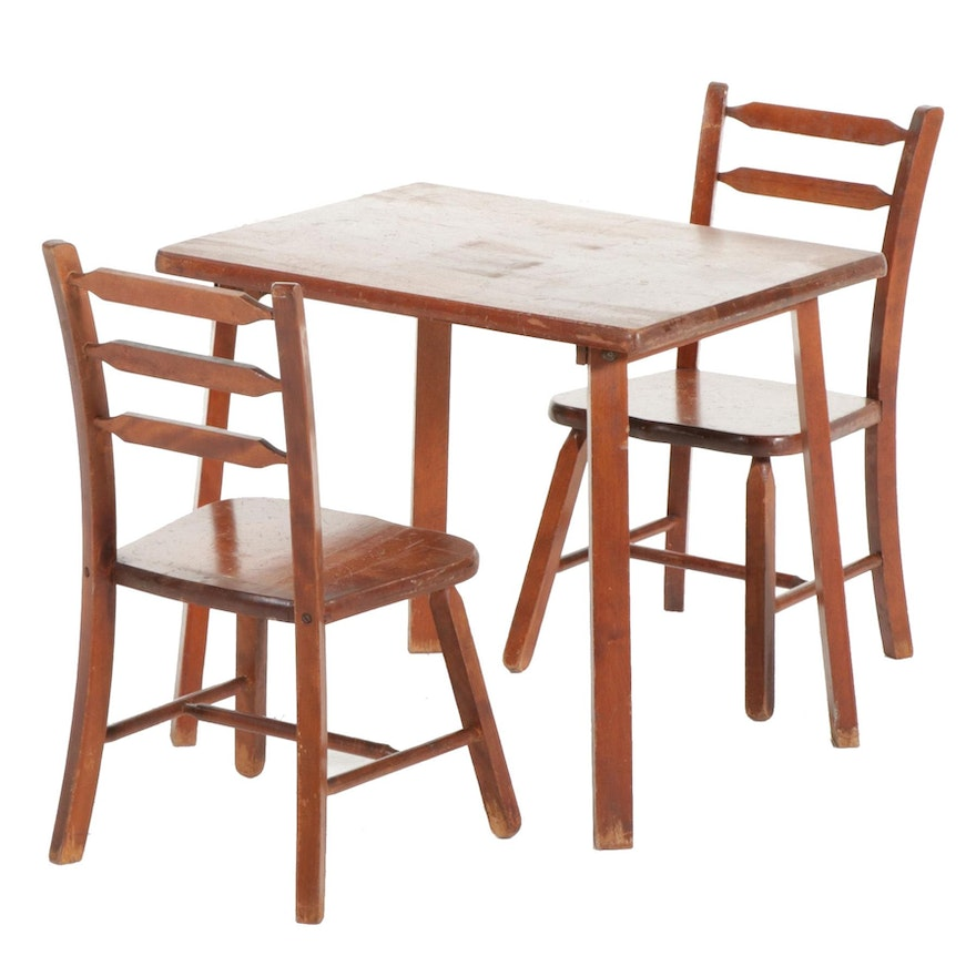 Wooden Child's Table and Two Chairs, Mid-20th Century
