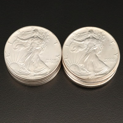 Ten American Silver Eagle Bullion Coins
