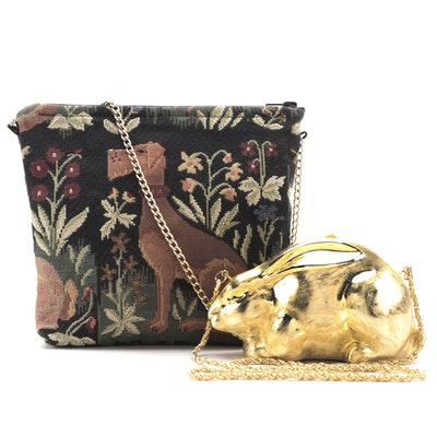 Walborg Metal Clutch Purse and Doodle Bags Needlepoint Zip Bag with Chain Straps