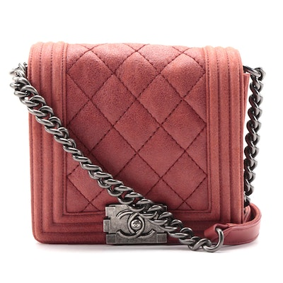 Chanel Square Boy Flap Bag in Red Quilted Sueded Leather