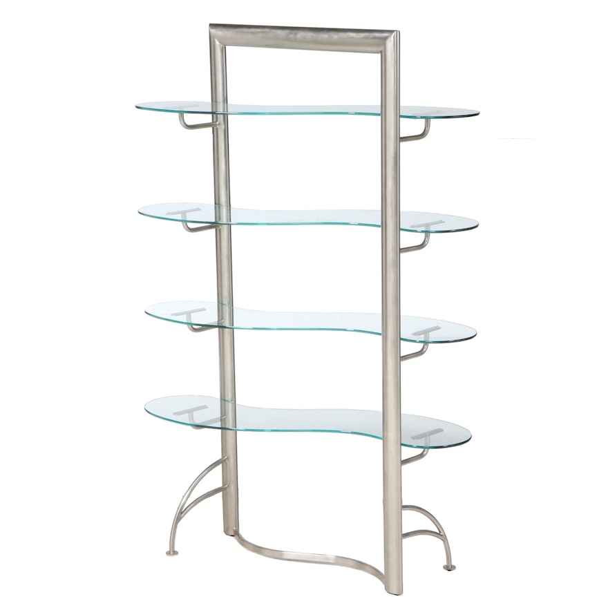 Brushed Nickel Room Divider with Curvilinear Glass Shelves