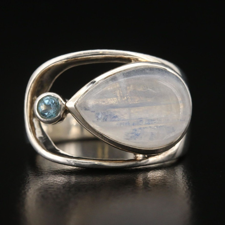 Sterling Rainbow Moonstone and Topaz Ring