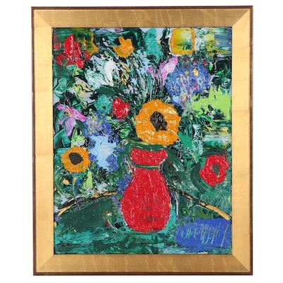 Gayle Hummel Floral Still Life Acrylic Painting, Late 20th Century