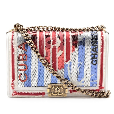 Chanel Limited Edition Cuba Medium Boy Bag Embellished with Sequins
