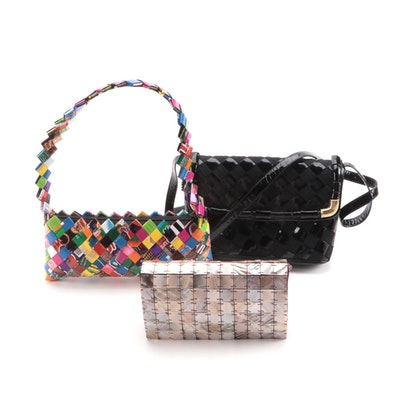 Mad Bags Mother-of-Peal Minaudière with Sharif and Other Woven Shoulder Bags