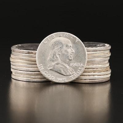 Twenty 1963 Franklin Silver Half Dollars