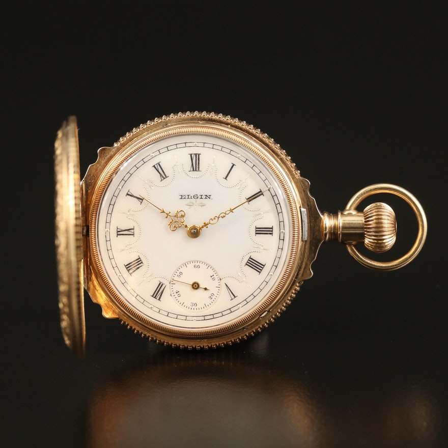 1887 Elgin 14K Gold Engraved True Box Hinged Hunting Case Pocket Watch