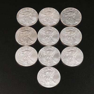 Ten $1 American Silver Eagles, 2009–2018