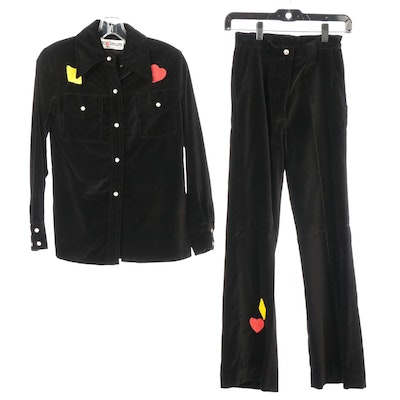 Maximum Black Velveteen Pant Set with Hand Embellished Playing Card Motifs