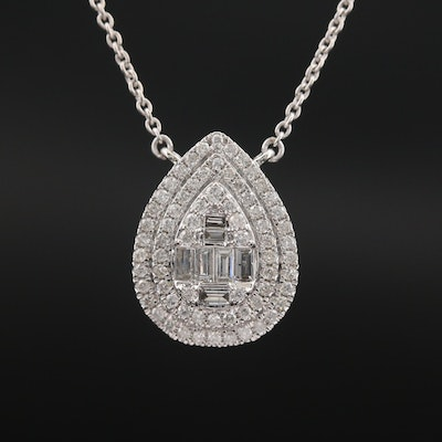 14K 1.14 CTW Diamond Double Halo Necklace