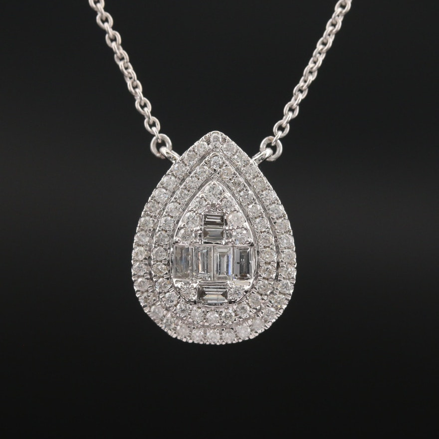 14K 1.14 CTW Diamond Double Halo Necklace